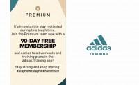 adidas免费赠送90天跑步和训练APP高级会员